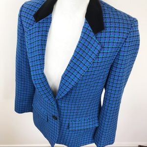 Pendleton  Blue Teal Check Classic Wool Blazer 6